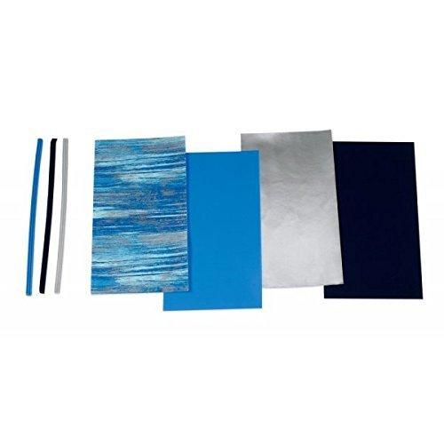 """Wachsplatten/Verzierwachsstreifen im Sortiment""""Blau gemustert (Mischung)"""" (4 Bögen + 9 Streifen / 175 x 80 x 0,5 mm) TOP QUALITÄT"""