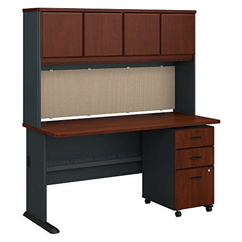 Bush Business Furniture Series A 60W Desk with Hutch and Mobile File Cabinet - Hansen Cherry/Galaxy 60W X 27D X 66H ERGONOMICHOME BUSH BUSINESS FURNITURE