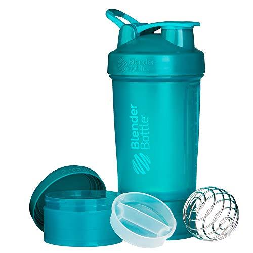 BlenderBottle ProStak Protein Shaker mit BlenderBall mit 2 Container 150 ml und 100 ml, 1 Pillenfach, optimal für Eiweiß, Diät und Fitness Shakes, skaliert bis 450ml, teal türkis (650ml)