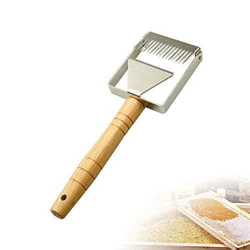 Kyowoll Honig Schneiden Schaber Werkzeug für Imkerei - Edelstahl Bienenzuchtwerkzeug Imker Gabel Bienenwaben Imkerausrüstung mit Holzgriff Imkerei Werkzeug (M)