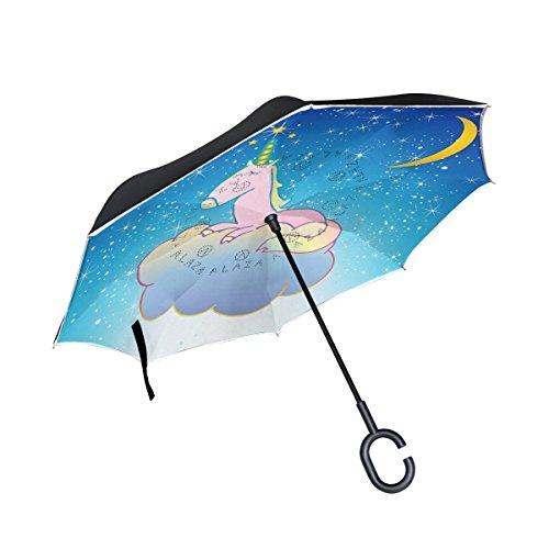 AOMOKI 逆さ傘 逆折り式傘 逆傘 長傘 日傘 晴雨兼用 梅雨対策 UVカットC型 男女兼用 ユニコーン 星柄 星空 月柄 馬柄 子供