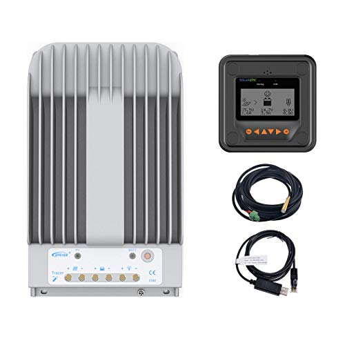 EPEVER MPPT Solar Charge Controller 40A 150V PV Solar Panel Controller Negative Ground W/ MT50 Remote Meter + Temperature Sensor PC Monitoring Cable[Tracer4215BN]