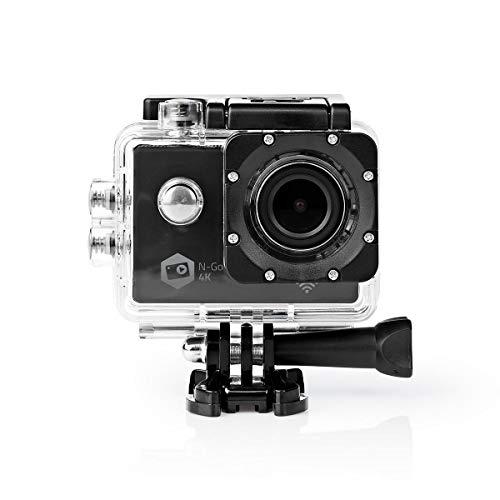 NEDIS Action Cam Action-Kamera - Ultra HD 4K-Bildqualität - Vielseitige Action Cam - wasserdichte Tasche - WiFi - WLAN - 16 Mpixel - Schwarz Schwarz 0.8 m
