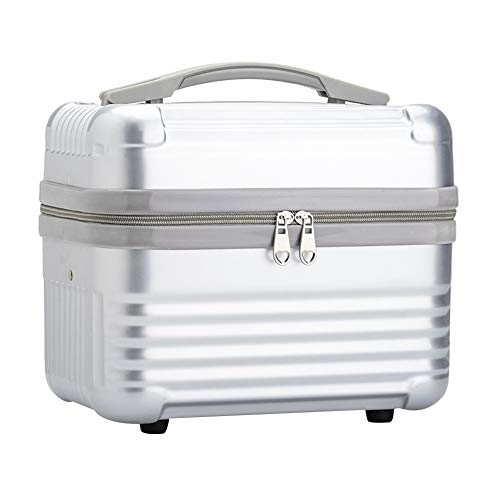 Exttlliy Stereoscopic Hard Shell Cosmetic Case Travel Luggage Box,Portable Carrying Case Suitcase for Makeup (Silver)