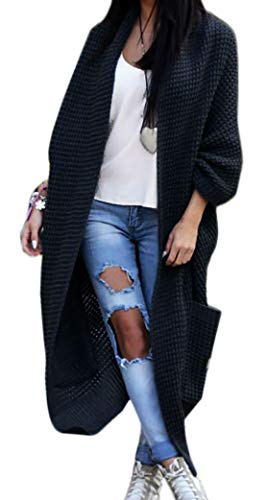 Mikos Damen-Strickjacke-Pullover-Pulli-Jacke-Oversize-Boho-S-M-L-XL (629) Schwarz