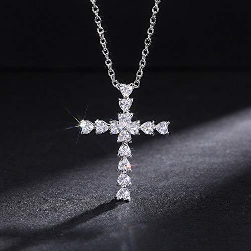 BJGCWY Delicados Collares con Colgante de Cruz de corazón de Cristal para Mujer, Collar versátil Fino Brillante