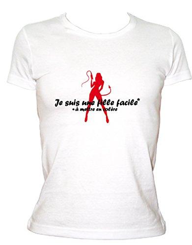 Boutique KKO - Camiseta humorística para niña fácil de Poner Blanco M