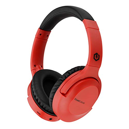PowerLocus P4 Auriculares Bluetooth Inalambricos,[30h duración de batería], Cascos Bluetoooth Inalámbrico Auriculares de Diadema con Micrófono,Hi-Fi Sonido Estéreo para Moviles,PC,TV,iPad (Rojo)