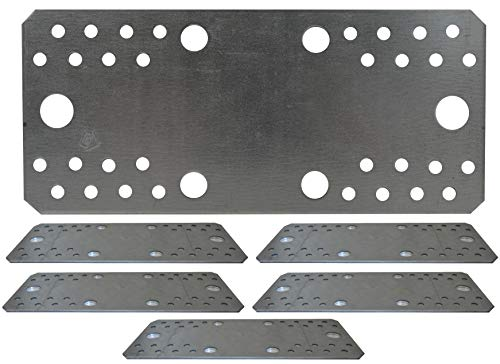 Flat Connecting Joining Plate Galvanised Heavy Duty Metal Steel Sheet Strong Big Size 8.28'x3.54'x0.1' (210 x 90 x 2.5mm) Pack of 5pcs