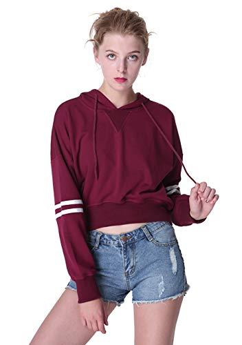 EFOFEI Femme Tops Manches à Rayure Sweatshirt Crop Manches Longues Pullover Décontracté,Bourgogne,XL