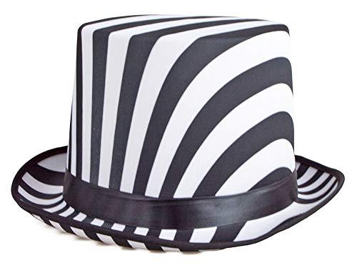 Zylinder 60cm - Schwarz Weiß gestreift - Schöner Hut zum 20er Jahre Kostüm für Party Show Hochzeit Junggesellenabschied Karneval