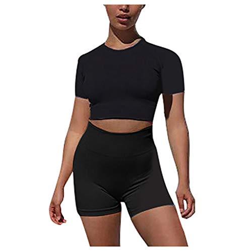 YANFANG Moda para Mujer Sexy Sólido Chaleco de Yoga Deportes Conjunto de Fitness Tops elásticos + Pantalones,Black,XL