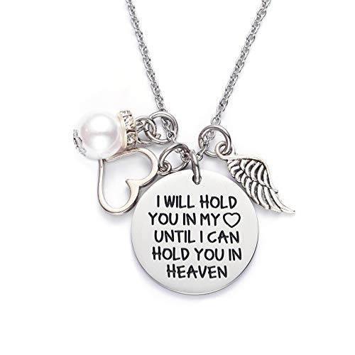 LParkin Memorial Necklace I Will Hold You in My Heart Until I Can Hold You in Heaven Pendant Loss of Child Necklace Heart Necklace Cremation Jewelry Gift for Her