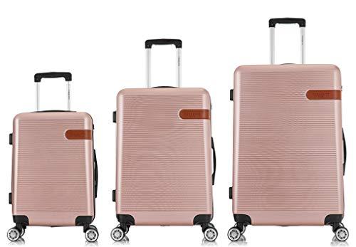 TORENTE COUTURE BTOR-SD-2023 - Maleta de viaje con ruedas giratorias, juego de 3 maletas rígidas, varios colores a elegir oro rosa SML