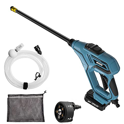 Cordless Pressure Washer, WESCO 18V 2.0Ah Cordless Power Washer, with 6M Hose, 4 Spray Nozzles, Carry Bag, Extension Lance, Battery Pressure Washer for Garden, Pet, Car and Outdoor Cleaning /WS8800