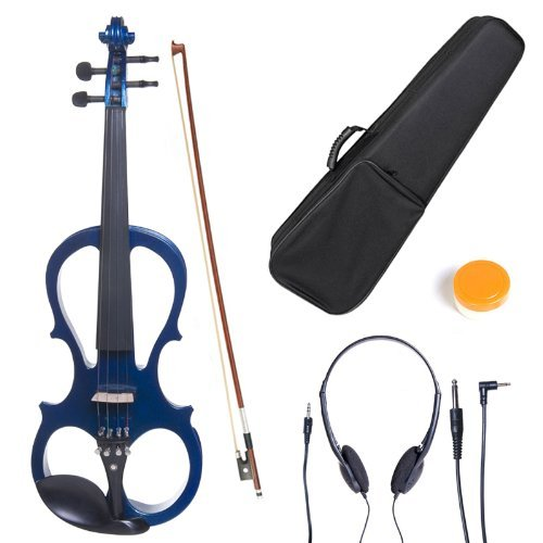 Cecilio CEVN-1BL Style 1 Silent Electric Solid Wood Violin with Ebony Fittings in Metallic Blue, Size 4/4 (Full Size)
