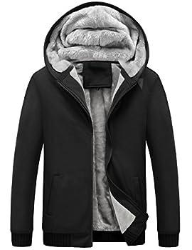 Yeokou Men s Winter Thicken Fleece Sherpa Lined Zipper Hoodie Sweatshirt Jacket  Small Black