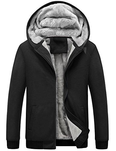 Yeokou Men's Winter Thicken Fleece Sherpa Lined Zipper Hoodie Sweatshirt Jacket (Large, Black)