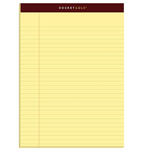 "TOPS Docket Gold Writing Pads, 8-1/2"" x 11-3/4"", Legal Rule, Canary Paper, 50 Sheets, 6 Pack (99707), Original Version"
