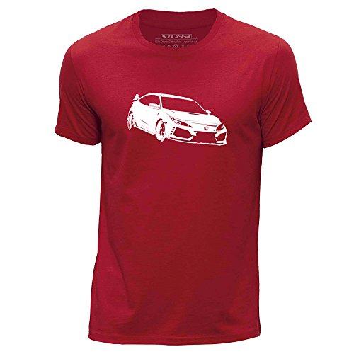 Stuff4 Herren/X groß (XL)/Rot/Rundhals T-Shirt/Schablone Auto-Kunst/Civic FK8