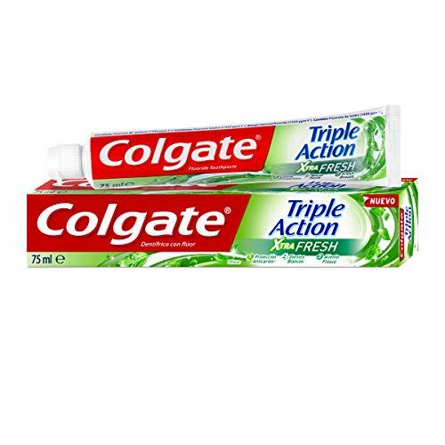 COLGATE Triple Acción Extra Fresh, Pasta de Dientes, Blanqueador y Frescor, Blanco, 75 Mililitros