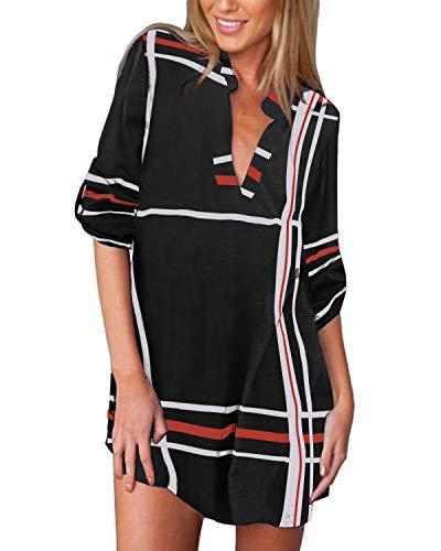 ZANZEA Camisas Mujer Casual Camisa Suelta Cuello V Camisa Manga Corta Blusa Tops Tallas Grandes Elegante Verano Camiseta de Rayas 06-Rayas Negro 42