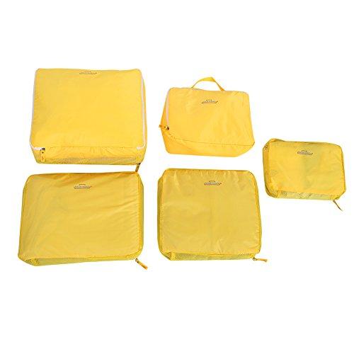 Storage Bag,5Pcs Travel Luggage Suitcase Storage Bag Set Clothes Underwear Packing Organizer Pouch(Yellow)