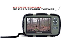 View images and videos from your trail cameras Headphone jack for audio playback SD memory card slot up to 64GB Rugged housing w/ durable rubberized buttons Powered by (4) AAA batteries – (Batteries not included)