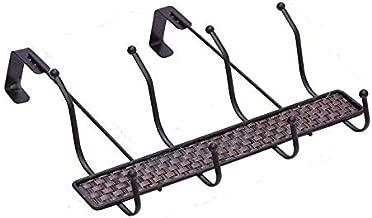 Lukzer Over The Door 4 Hook Hanger Heavy Duty Organizer Rack for Kitchen Cabinets Towel Hanging (Dark Brown)