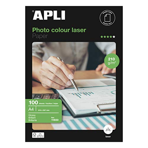 APLI 11833 - Papel (Gloss, Color blanco, 210g, 210 297)