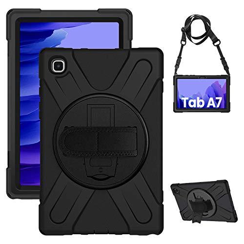 """Gerutek Funda Anticaída para Samsung Galaxy Tab A7 10.4"""" (T500 / T505 T507), Carcasa Rugosa con Soporte Rotación, Correa de Mano/Hombro, Funda Antichoque para Galaxy Tab A7 2020, Negro"""