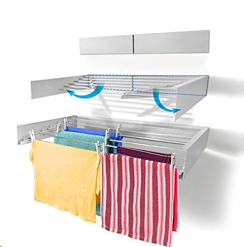 Step Up Laundry Drying Rack Airer - Wall Mounted - Retractable - Clothes Drying Rack Collapsible Folding Indoor or Outdoor – Space Saver Compact Sleek Design (White 100cm)