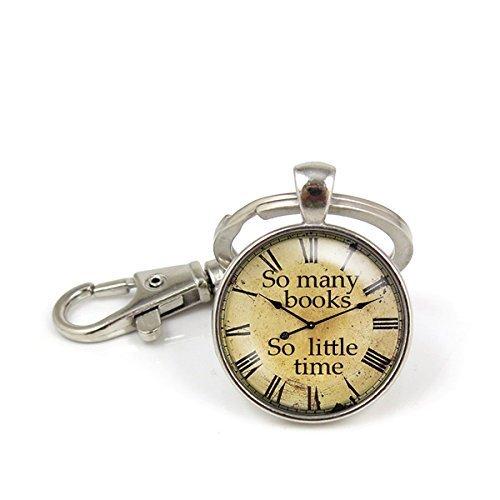 xinzhahi Schlüsselanhänger So viele Bücher, SO wenig Zeit-Motiv, Schmuck mit Anhänger Schlüsselanhänger Key Ring