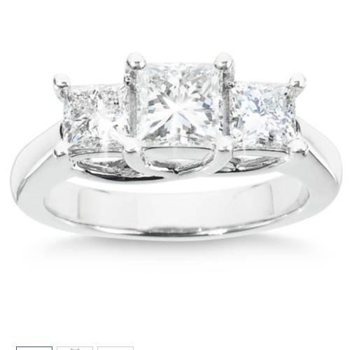 Anillo de diamante de 3 piedras de 1/2 quilates, oro blanco de 14 quilates