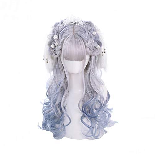 Cvthfyky Cosplay, de Lolita peluca rizada larga, resistente al calor, peluca llena del cordón con fleco, for el partido del traje de cómic Carnaval de Halloween