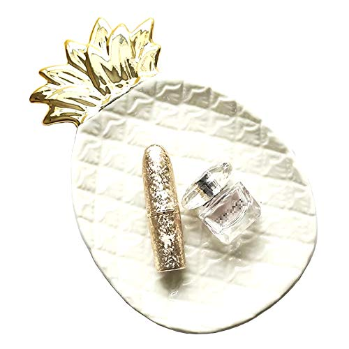 Lemonadeus White Ceramic Pinapple Trays Jewelry Storage Plate Rings/Keys/Trinket dish Pinapple decor