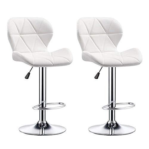 JIEER-C stoelen voor de tijd Libero barkruk set van 2 kinderstoelen, draaibaar, van PU-kunststof, rugleuning Wit.