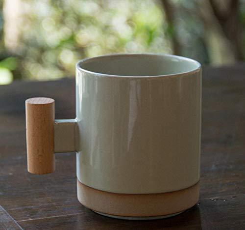 Taza de café retro con mango de madera, estilo japonés, con personalidad creativa, esmerilada, taza de café simple A