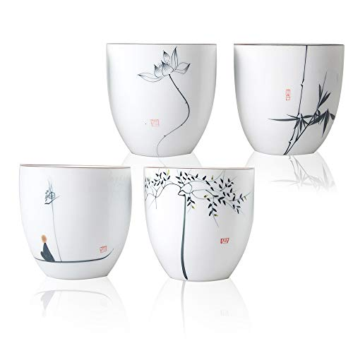 Hwagui-Chinesische Teetassen Porzellantassen Geschenke für Mama, Satz von 4 Tassen [MEHRWEG]