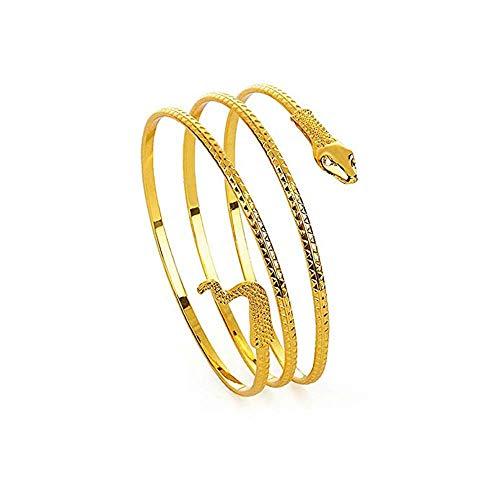 MJARTORIA Damen Armband Frauen Armreif Gold Farbe Gewickelt Schlange Spiralfoermig Oberarm Stulpe Schmuck Rostfreier Stahl