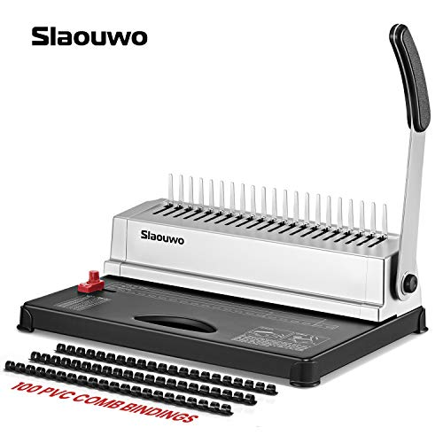 Binding Machine, Slaouwo Comb Binding Machine with 100 PCS 3/8'' Starter Kit, Paper Punch Binder for Letter Size / A4 / A5