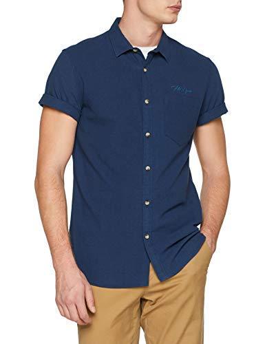 New Look Texture Michigan Camicia, Blu (Navy), 17.5 (Taglia Produttore: 53) Uomo