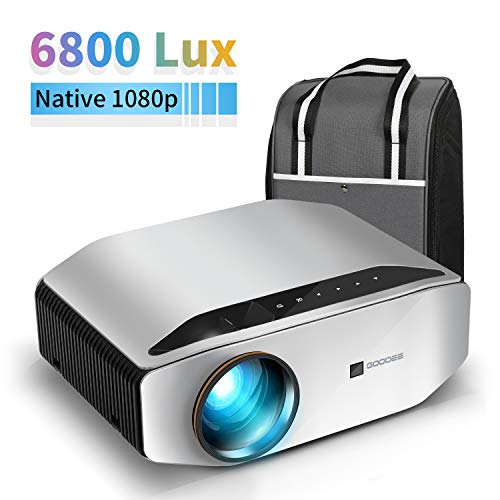 Native 1080P Projector, GooDee HD Video Projector 6800 Lux 300' Image Display...