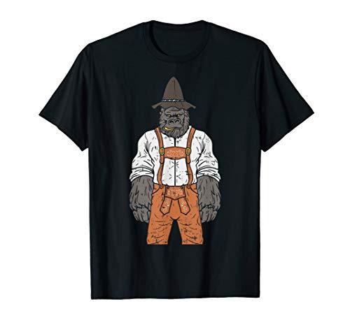 Herren Bayerischer Gorilla mit Lederhose Cooles Bayern T-Shirt