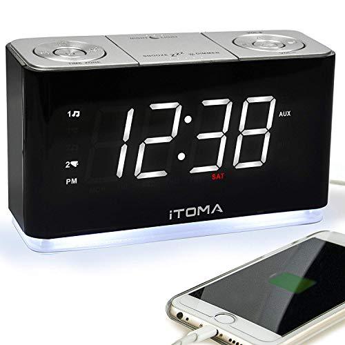 iTOMA Reloj Despertador con Radio FM, Alarma Dual, Carga USB, luz Nocturna, Control automático de atenuación (CKS507) …