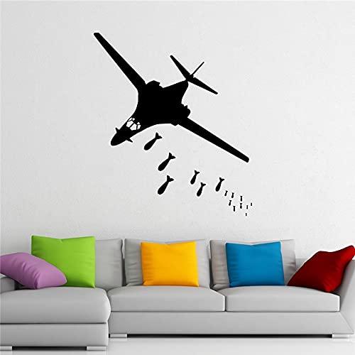 Kjlfow Avión Bombardero Pegatinas de Pared Pegatinas de decoración de Aviones Dormitorio avión sofá decoración de Fondo 57x67cm