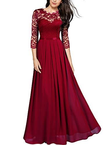 MIUSOL Damen Elegant Halbarm Rundhals Vintage Spitzenkleid Hochzeit Chiffon Faltenrock Langes Kleid Rot Gr.2XL