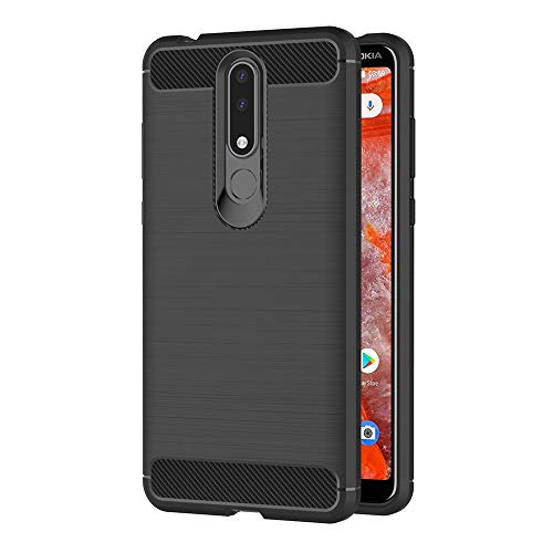 AICEK Cover Nokia 3.1 Plus, Nero Custodia Nokia 3.1 Plus Silicone Molle Black Cover per Nokia 3.1 Plus Soft TPU Case (6.0 Pollici)