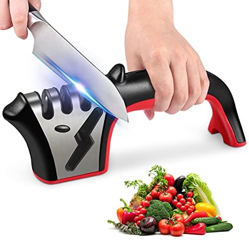 Knife Sharpener, 4-in-1 Kitchen Knife Accessories, Easy Sharpening 4-Stage Kitchen Sharpener Helps...