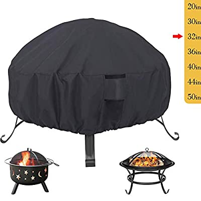 Saking Patio Fire Pit Cover Round 32 x 16 inch - Waterproof Windproof Anti-UV Heavy Duty Gas Firepit Furniture Table Covers